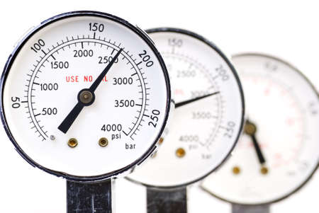 Set of manometers, shallow depth of field