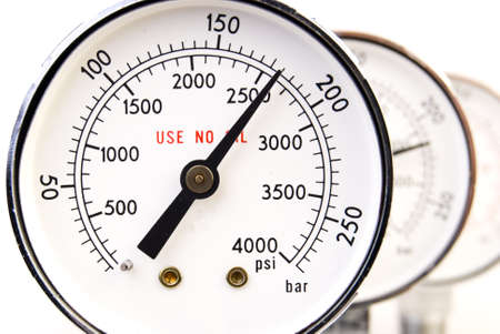 pressure: Close up of manometer isolated on white