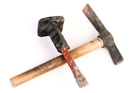Chisel and hammer isolated on white Stock Photo