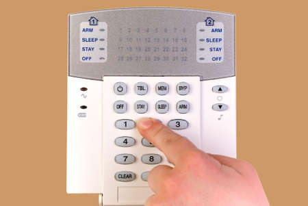 Close  up of security alarm system keypad