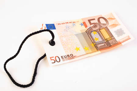 50 Euro banknote tag on white surface