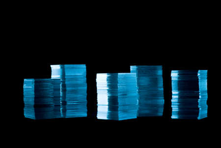 Cubes from thin glass on black background