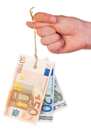 Euro  banknotes tag hanging on thumb isolated on white