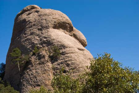 Hill in Montserrat mountain chain near Barcelona, in Catalonia