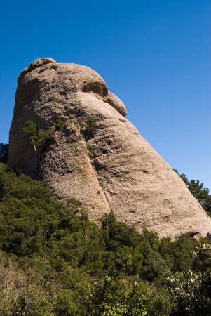 Strage shape hill in Montserrat mountain chain near Barcelona, in Catalonia Stock Photo