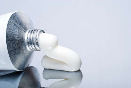 Close up of a metal cream tube