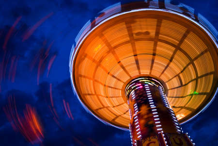 Chairoplane carousel at the oktoberfest in munich at night