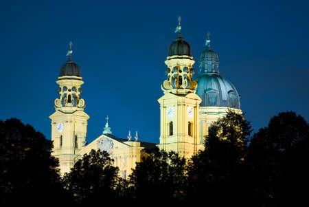 Theatiner Church, located on the Odeonsplatz at night Stock Photo
