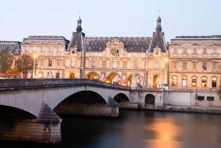 Musee du Louvre at twilight, Paris< France