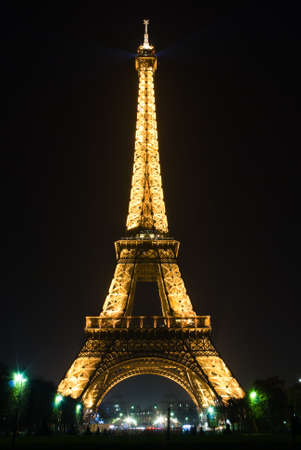 Eiffel tower of Paris illuminated at night