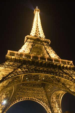 Illuminated Eiffel tower at night, Paris