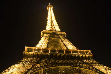 A golden view of Eiffel tower at night Stock Photo - 11805163