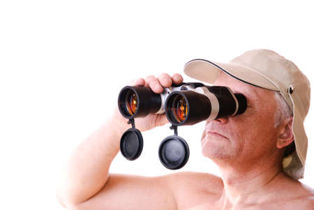 Safari man looking through his binocular  Isolated on white photo