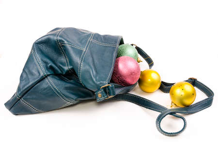 leathern: Leather bags and Christmas balls get off