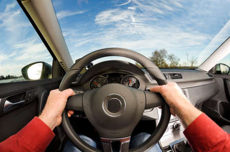 Driver hold a car steering