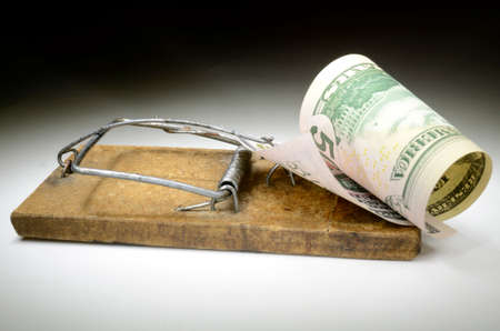 mouse trap: Fifty dollar banknote in mouse trap