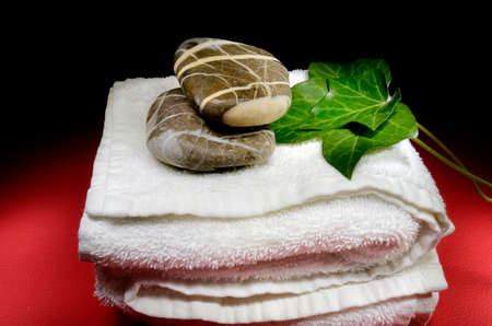 Still life composition with towel, stones and ivy leaves