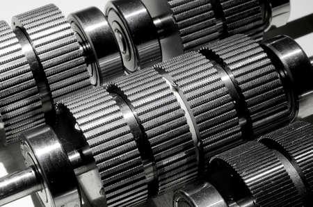 Set of electric stepper motor gear-shaped shafts