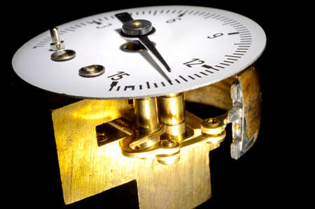Close up of pressure gauge disassembled