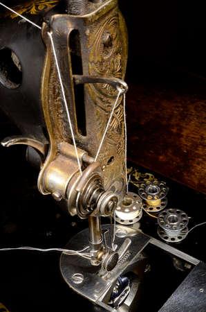 Vintage Sewing machine and reels of thread