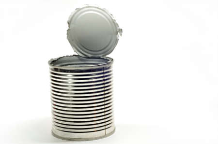 Opened tin can on white background