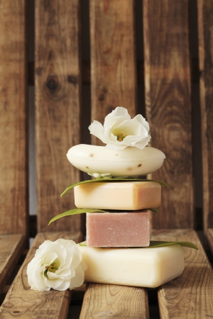 Bar of soap and spa treatment photo