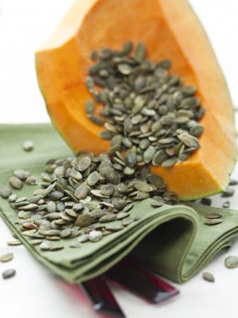 large pumpkin: Pumpkin and seeds Stock Photo