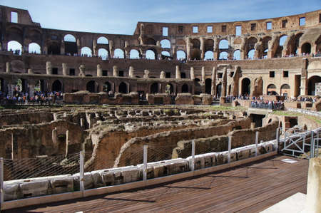 heritage protection: October 17, 2012, Rome, Italy Colosseum (Coliseum) in the well-preserved ancient stands.