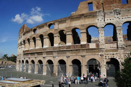 heritage protection: October 17, 2012, Italy: Tourists at the entrance of Colosseum (Coliseum).