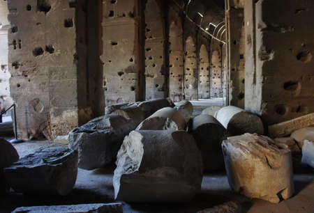 heritage protection: October 17, 2012, Rome, Italy: Colosseum (Coliseum) partial of broken pillars.