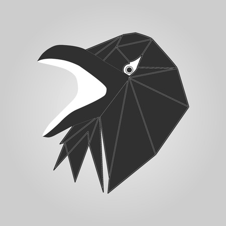 doom: Vector head of raven isolated on the white background.