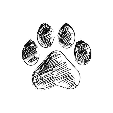 hand drawn doodle of animal footpri, Vector illustration. Иллюстрация