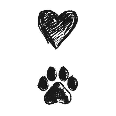 patas de perros: mano doodle de la huella de los animales y el corazón, ilustración vectorial.