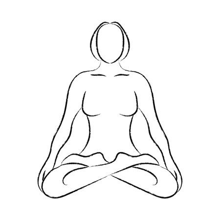 joga: yoga pose silhouette Illustration