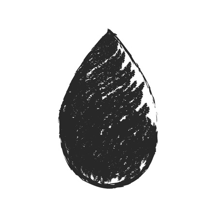 Vector black sketch drop icon on white background