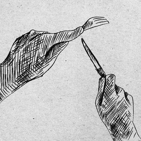 schizzo a mano a mano con un coltello e forchetta