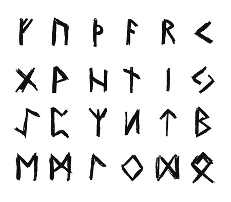 odin: Alphabet with ancient Old Norse runes (Futhark) Set of 24 scandinavian and germanic letters on square white landscape background. Illustration