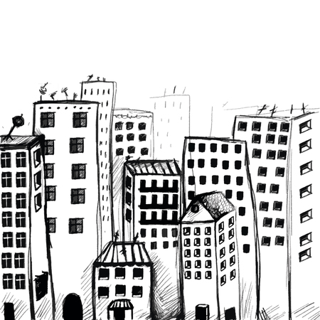 city view: Hand drawn city view