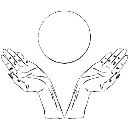 hand sketch begging hands