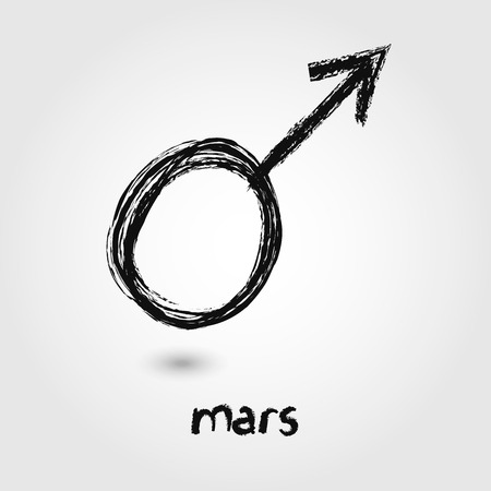 mars: Vector Sketch  Mars Planet icons on the white background Illustration