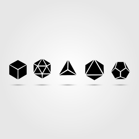 solids: Sacred geometry - platonic solids - six elements - stock vector - air, earth, water, fire, spirit, cosmos - sphere, cube, dodecahedron, tetrahedron, icosahedron, octahedron