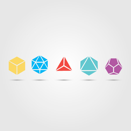 tetrahedron: Sacred geometry - platonic solids - six elements - stock vector - air, earth, water, fire, spirit, cosmos - sphere, cube, dodecahedron, tetrahedron, icosahedron, octahedron