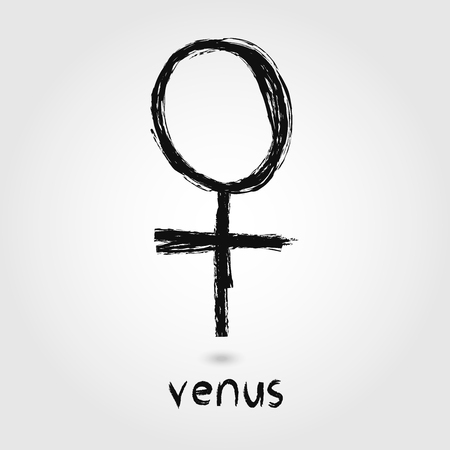 Vector Sketch Venus Planet icons on the white background