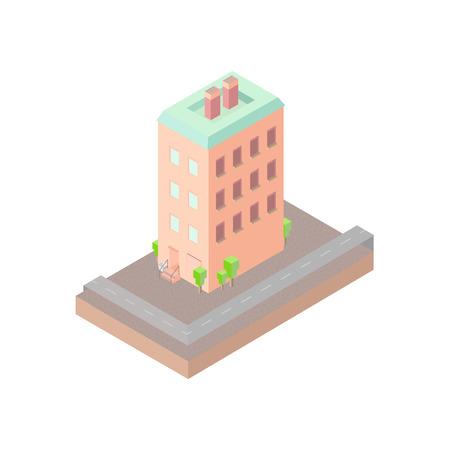 backyard: Isolated vector isomatic, small isometric house, isometric icon with backyard, isometric home, isometric town, isometric villa, isometric map, isometric house pictogram, isometric house facade. EPS10