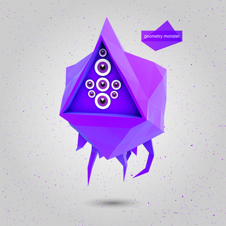 fabled: Game 3D geometric Flying Monster illustration Illustration
