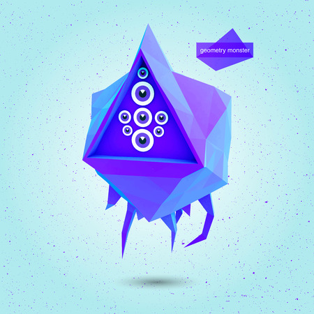 fabled: Game 3D geometric Flying Monster with several eye.Vector illustration Illustration