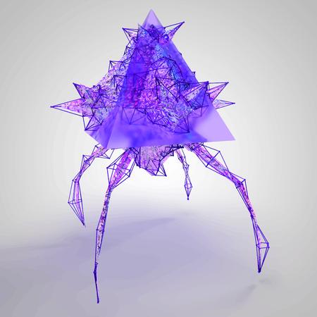 Game 3D geometric Flying Monster illustration Illustration