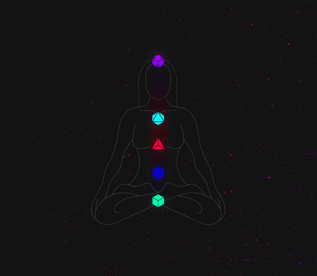 solids: The girl is engaged in yoga and chakra symbols and platonic solids