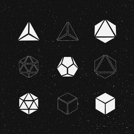 solids: Geometric solids set. Vector design.