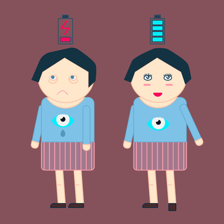 Woman Stand suffering from insomnia Vector Illustration
